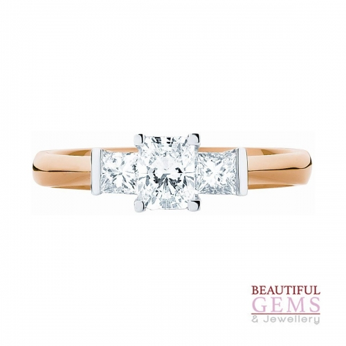 Engagement Ring with 1 Carat TDW of Diamonds in 18ct While & Yellow Gold - 184953016 - B