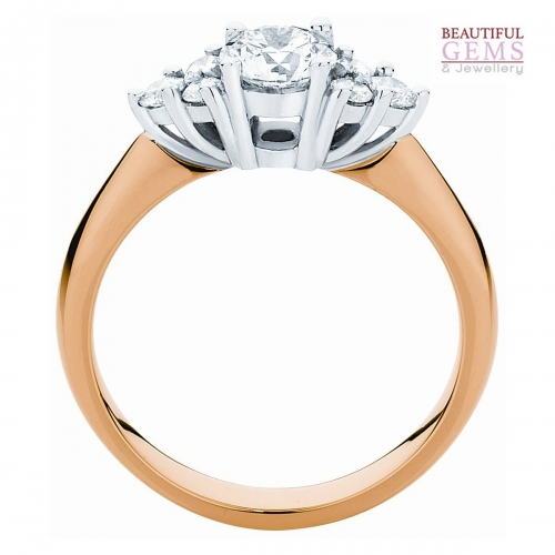 Three Stone Engagement Ring with 1 Carat TDW of Diamonds in 18ct While & Yellow Gold - 184953017