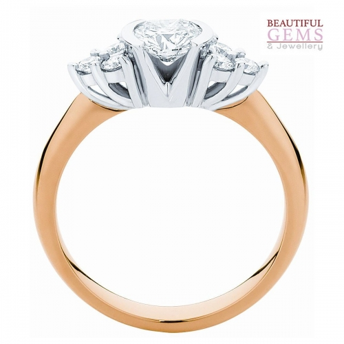 Three Stone Engagement Ring with 1 Carat TDW of Diamonds in 18ct While & Yellow Gold - 184953018