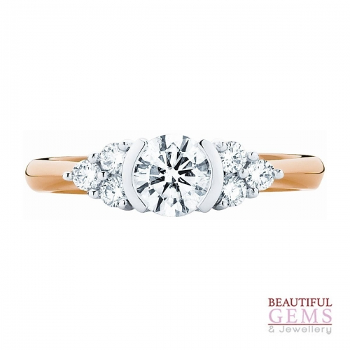 Three Stone Engagement Ring with 1 Carat TDW of Diamonds in 18ct While & Yellow Gold - 184953018 - B