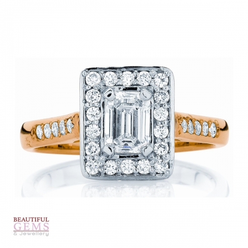 Emerald Cut Engagement Ring with 1.00 Carat TDW of Diamonds in 18ct White & Yellow Gold - 184953022