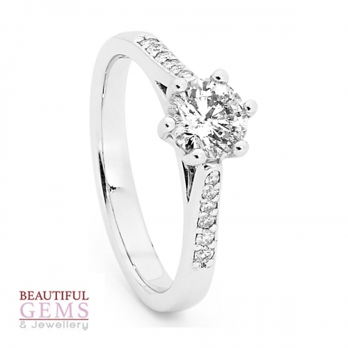 Solitaire Engagement Ring with a 0.50 Carat Centre (TDW TBA) Diamond in 18ct White – 183493032