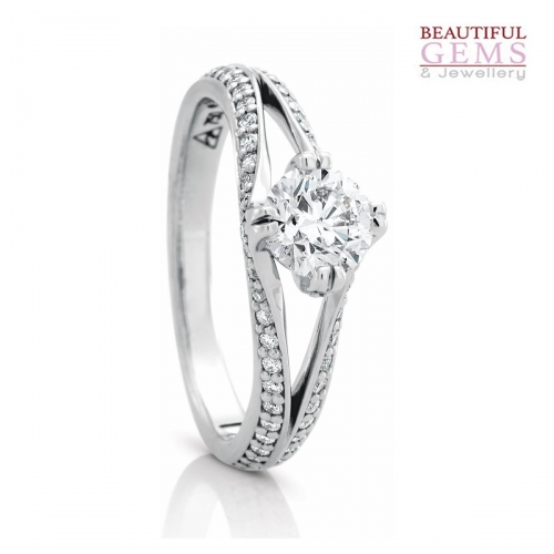 Solitaire Engagement Ring with a 0.75 Carat Centre (TDW TBA) Diamond in 18ct Yellow – 183753041 - B