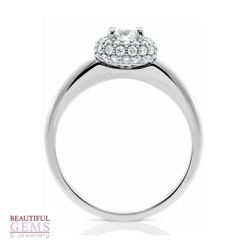 Halo Solitaire Engagement Ring with a .40 Carat centre (TW TBA) Diamond in 18ct White - 183383043 - B