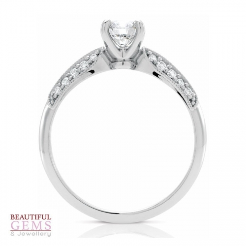 Round Brilliant Cut Solitaire with Double Row Shoulders - Occasion or Engagement Ring - B