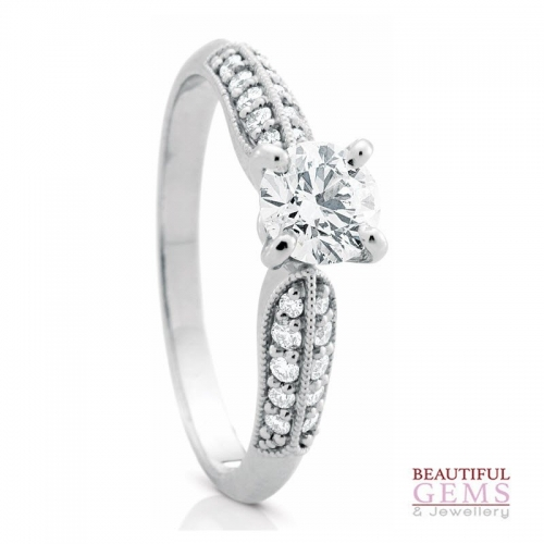 Round Brilliant Cut Solitaire with Double Row Shoulders - Occasion or Engagement Ring
