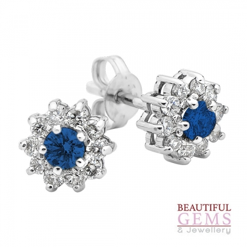 Sapphire Stud Earrings with .70ct TDW of Sapphires in 18ct White Gold