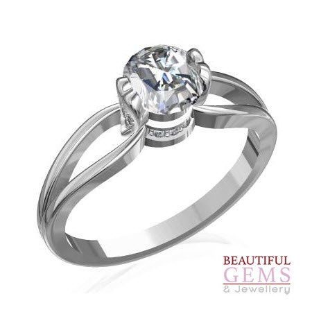 Engagement Ring with 0.78 Carats TDW in 18Ct White Gold - D27199-6