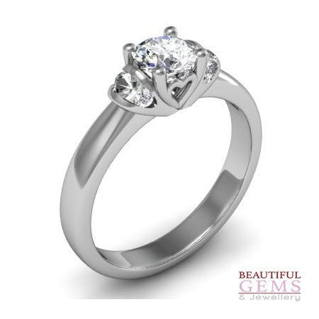 Engagement Ring with 0.57 Carats TDW in 18Ct White Gold - D35978-1