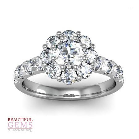 Engagement Ring with 1.41 Carats TDW in 18Ct White Gold - D36018-1