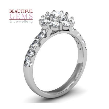 Engagement Ring with 1.41 Carats TDW in 18Ct White Gold - D36018-1 - B
