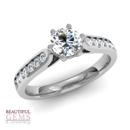 Engagement Ring with 0.63 Carats TDW in 18Ct White Gold - D37357-1