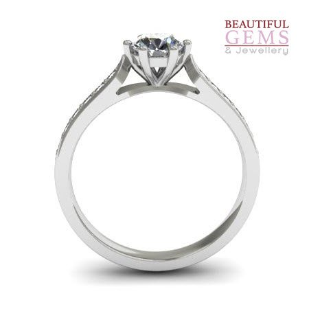 Engagement Ring with 0.63 Carats TDW in 18Ct White Gold - D37357-1 - B