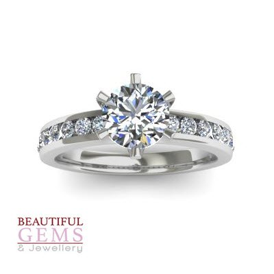 Engagement Ring with 1.25 Carats TDW in 18Ct White Gold - D37800-1