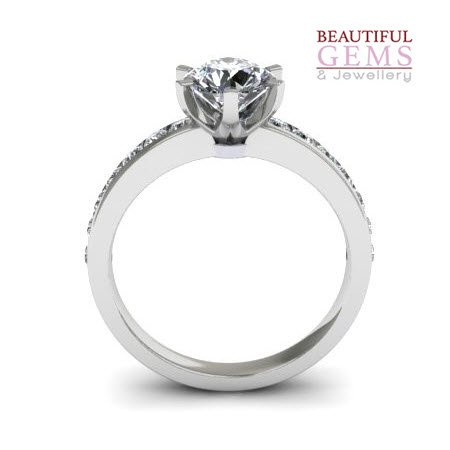 Engagement Ring with 1.25 Carats TDW in 18Ct White Gold - D37800-1 - B