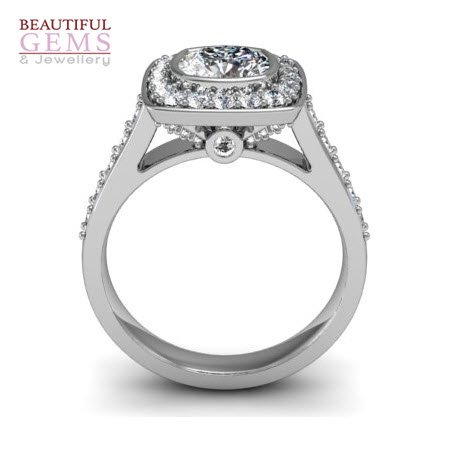 Halo Engagement Ring 1.26 Cts of Diamonds in 18ct White Gold–183D38568-1
