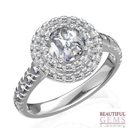 Engagement Ring with 1.39 Carats TDW in 18Ct White Gold - D39107-1