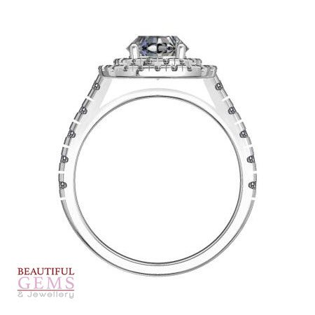 Engagement Ring with 1.39 Carats TDW in 18Ct White Gold - D39107-1 - B