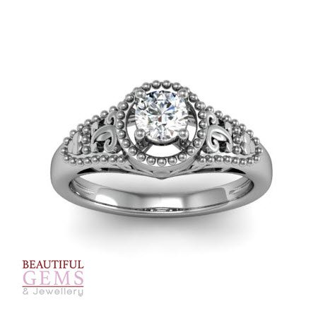 Engagement Ring with 0.35 Carats TDW in 18Ct White Gold - D39156-1