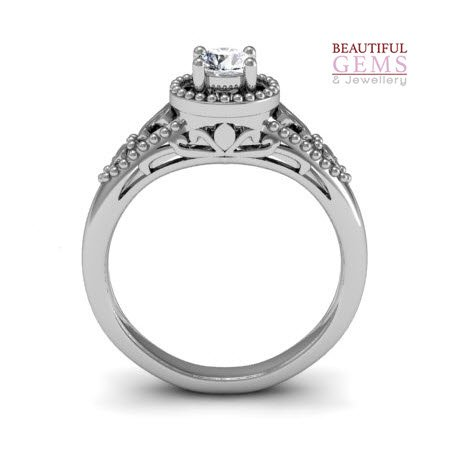 Engagement Ring with 0.35 Carats TDW in 18Ct White Gold - D39156-1 - B