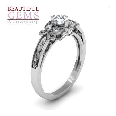 Engagement Ring with 0.27 Carats TDW in 18Ct White Gold - D39548-1