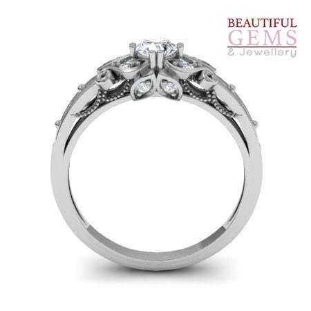 Engagement Ring with 0.27 Carats TDW in 18Ct White Gold - D39548-1 - B