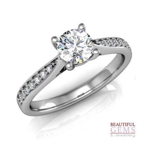 Engagement Ring with 0.52 Carats TDW in 18Ct White Gold - D40516-1