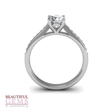 Engagement Ring with 0.52 Carats TDW in 18Ct White Gold - D40516-1 - B