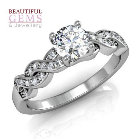 Engagement Ring with 0.57 Carats TDW in 18Ct White Gold - D40519-1
