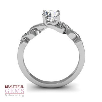 Engagement Ring with 0.57 Carats TDW in 18Ct White Gold - D40519-1 - B