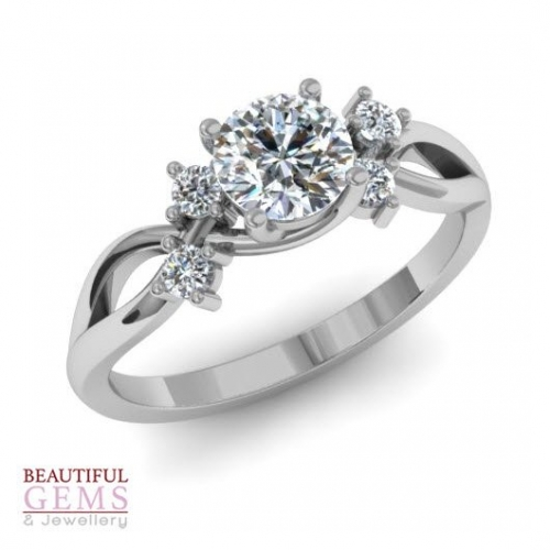 Engagement Ring with 0.62 Carats TDW in 18Ct White Gold - D40826-1