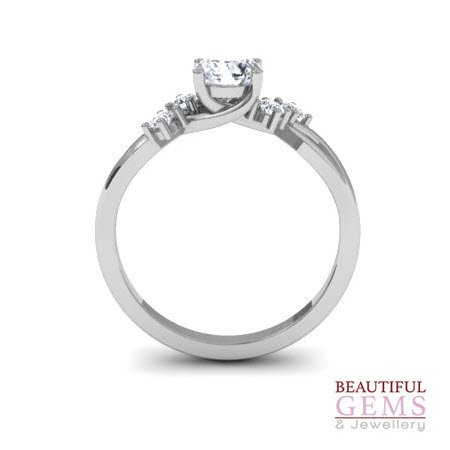 Engagement Ring with 0.62 Carats TDW in 18Ct White Gold - D40826-1 - B