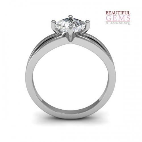 Princess Cut Engagement Ring 18ct White Gold-183d41917-c