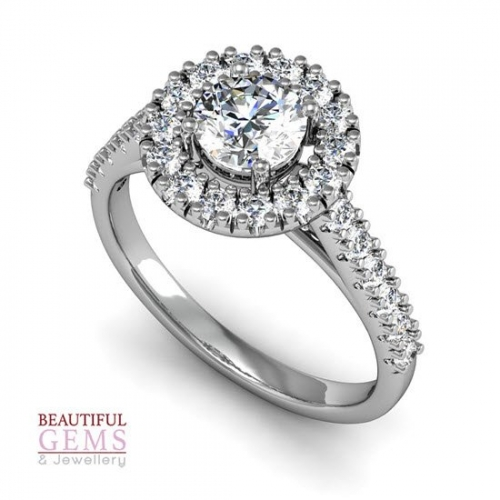 Engagement Ring with 1.02 Carats TDW in 18Ct White Gold - D42196-1