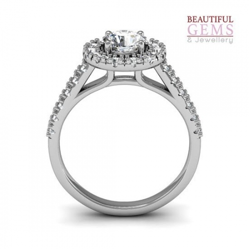 Engagement Ring with 1.02 Carats TDW in 18Ct White Gold - D42196-1 - B