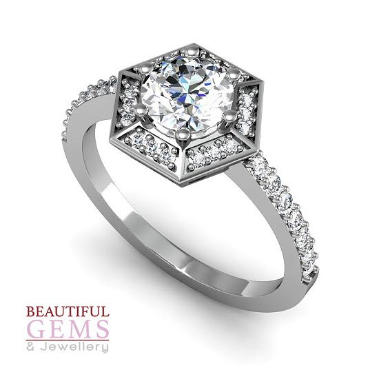 Engagement Ring with 0.93 Carats TDW in 18Ct White Gold - D42339-1