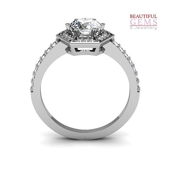 Engagement Ring with 0.93 Carats TDW in 18Ct White Gold - D42339-1 - B