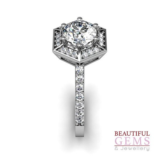 Engagement Ring with 0.93 Carats TDW in 18Ct White Gold - D42339-1 - C