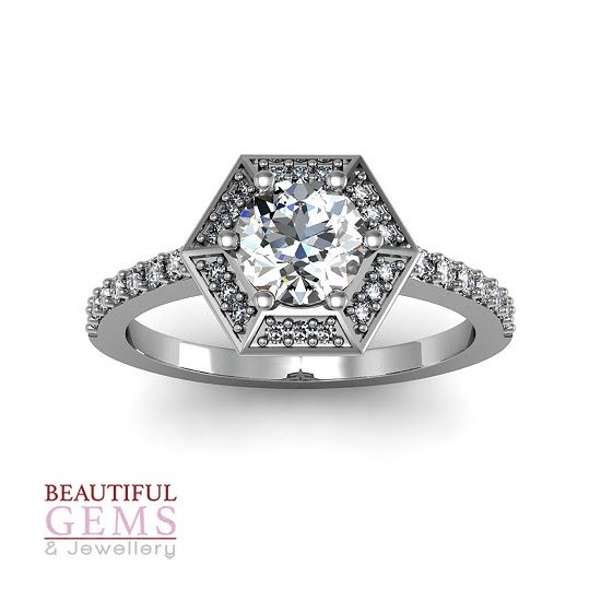 Engagement Ring with 0.93 Carats TDW in 18Ct White Gold - D42339-1 - D