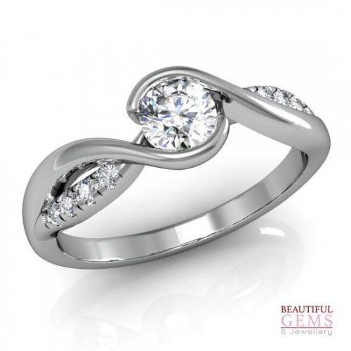 Engagement Ring with 0.82 Carats TDW in 18Ct White Gold - D42516-1