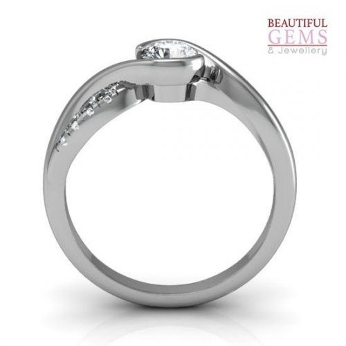 Engagement Ring with 0.82 Carats TDW in 18Ct White Gold - D42516-1 - B