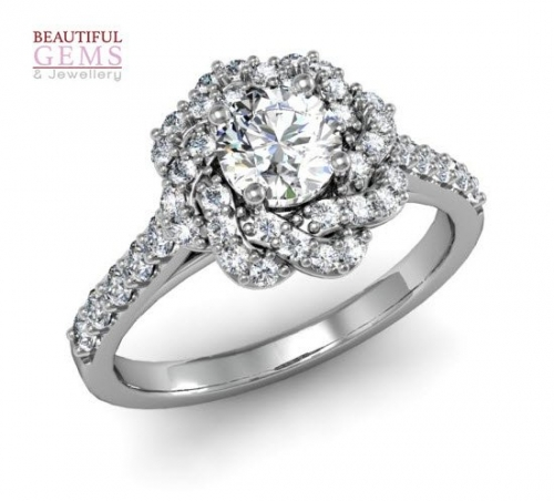 Engagement Ring with 0.68 Carats TDW in 18Ct White Gold - D42589-1