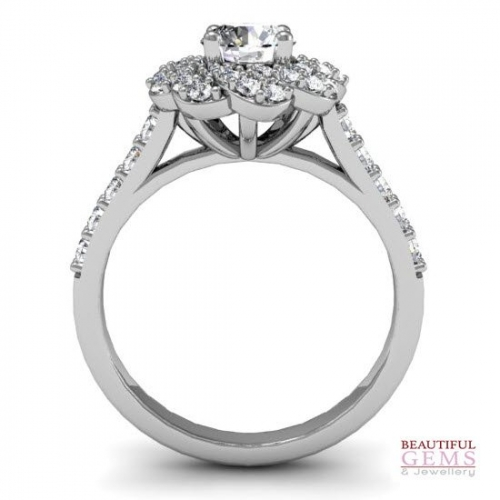 Engagement Ring with 0.68 Carats TDW in 18Ct White Gold - D42589-1 - B