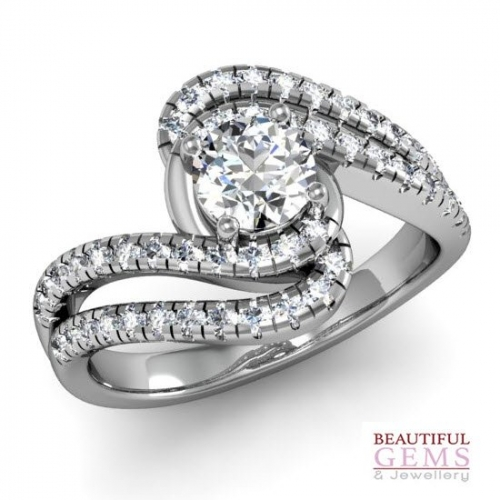 Engagement Ring with 0.37 Carats TDW in 18Ct White Gold - D42599-1