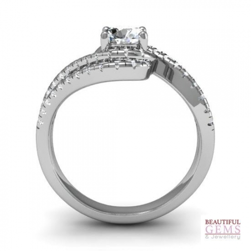 Engagement Ring with 0.37 Carats TDW in 18Ct White Gold - D42599-1 - B