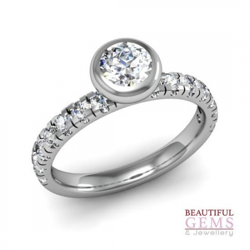 Engagement Ring with 0.87 Carats TDW in 18Ct White Gold - D42618-1