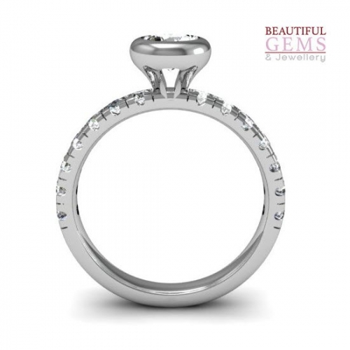 Engagement Ring with 0.87 Carats TDW in 18Ct White Gold - D42618-1 - B