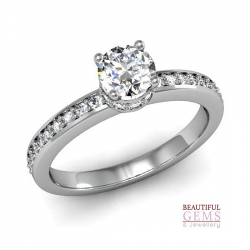 Engagement Ring with 0.68 Carats TDW in 18Ct White Gold - D42624-1