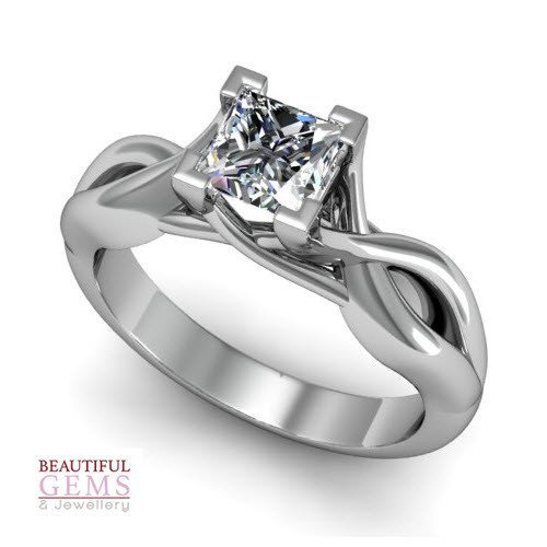 Engagement Ring with 0.60 Carats TDW in 18Ct White Gold - D42751-1