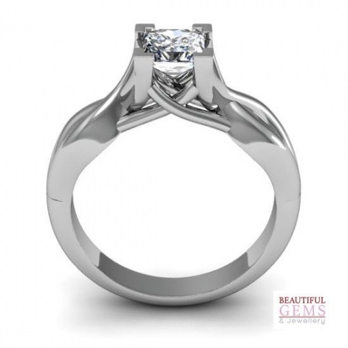 Engagement Ring with 0.60 Carats TDW in 18Ct White Gold - D42751-1 - B